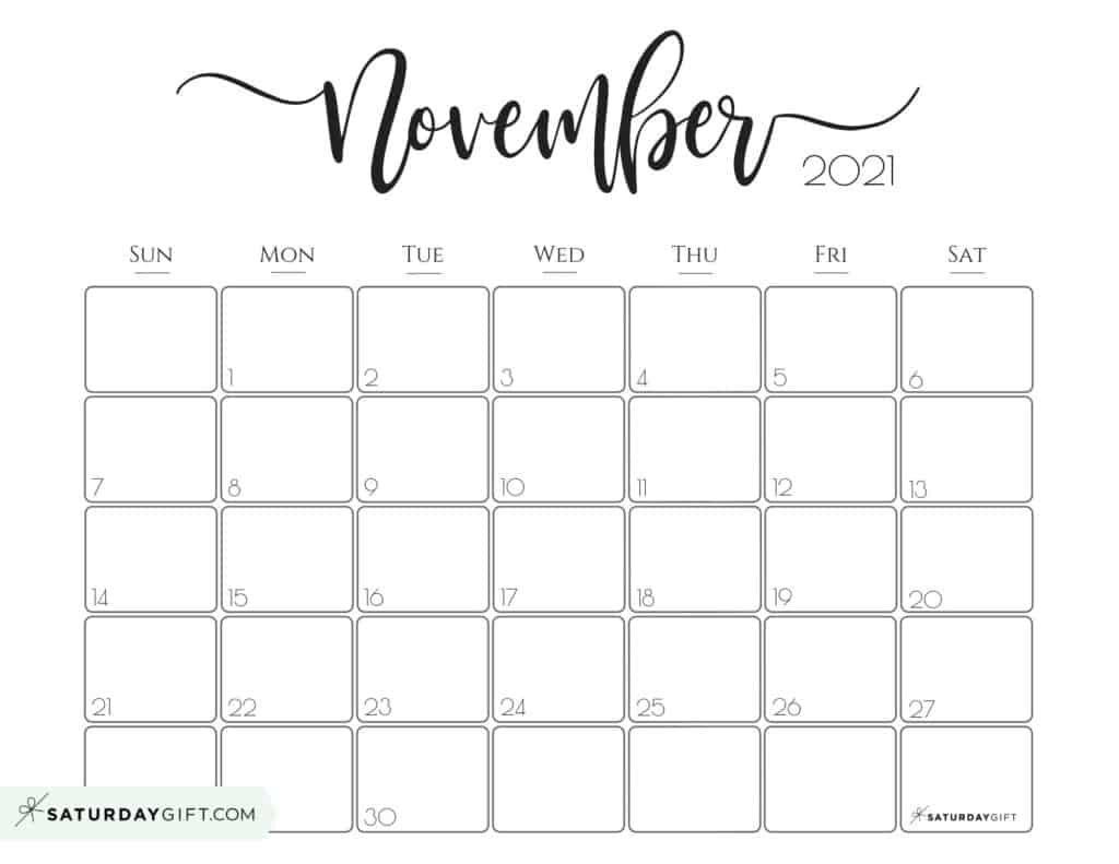 Elegant 2021 Calendar Pretty Printable Monthly Calendars Saturdaygift In 2020 Monthly Calendar Printable Calendar Printables Monthly Calendar