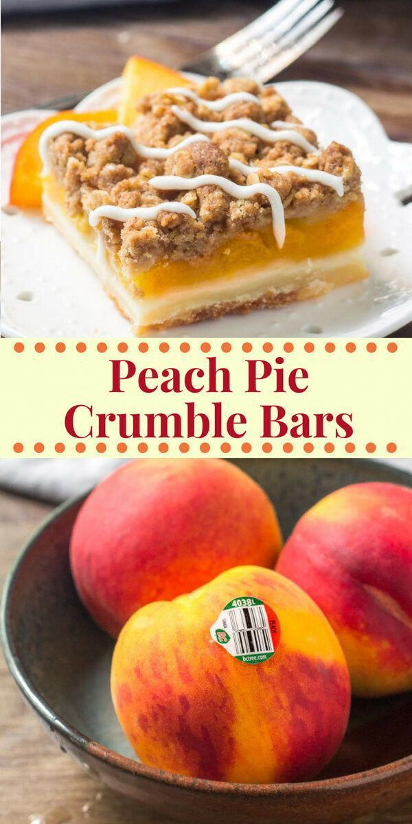 These Peach Pie Crumble Bars combine the 2 best peach recipes around - peach pie & peach crumble. Buttery shortbread base. Then they have a layer of juicy peaches followed by crunchy oatmeal crumble.