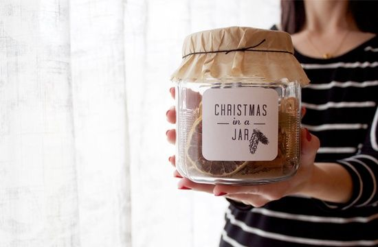 Christmas in a jar.    5 cinnamon sticks  1 dried lemon slice  1 dried orange slice  1/2 cup whole cloves  1 tbs. nutmeg  1/4 cup whole allspice  1 tbs. bay leaf pieces  3 dried apple slices
