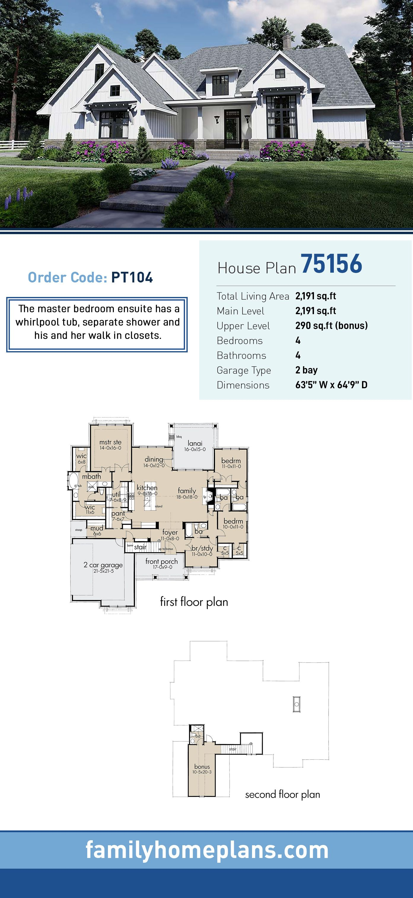 Southern Style House Plan 75156 With 4 Bed 4 Bath 2 Car Garage Farmhouse Plans Pool House Plans House Plans Farmhouse