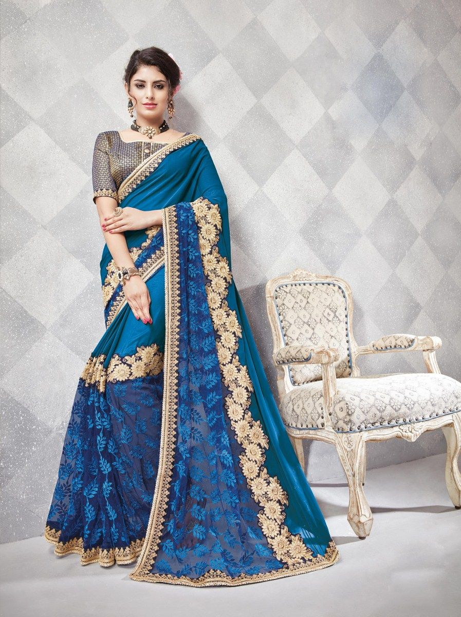 Saree crafted with heavy thread embroidery with zari work along with