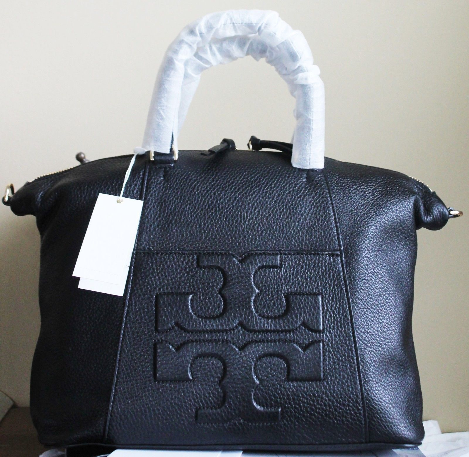 4468489c11c  495 TORY BURCH BOMBE T MEDIUM SLOUCHY SATCHEL TOTE SHOULDER BAG BLACK  LEATHER