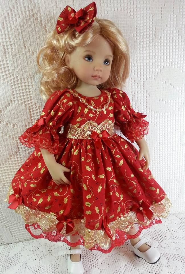 "Christmas Red and Gold Holly Dress by Salstuff for Little Darling 13"" Doll"