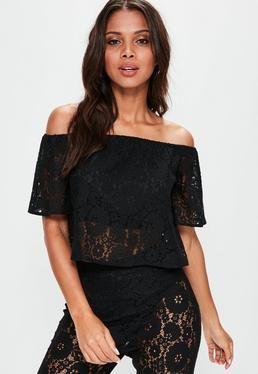 aacd990ff850d Tall Black Lace Bardot Top