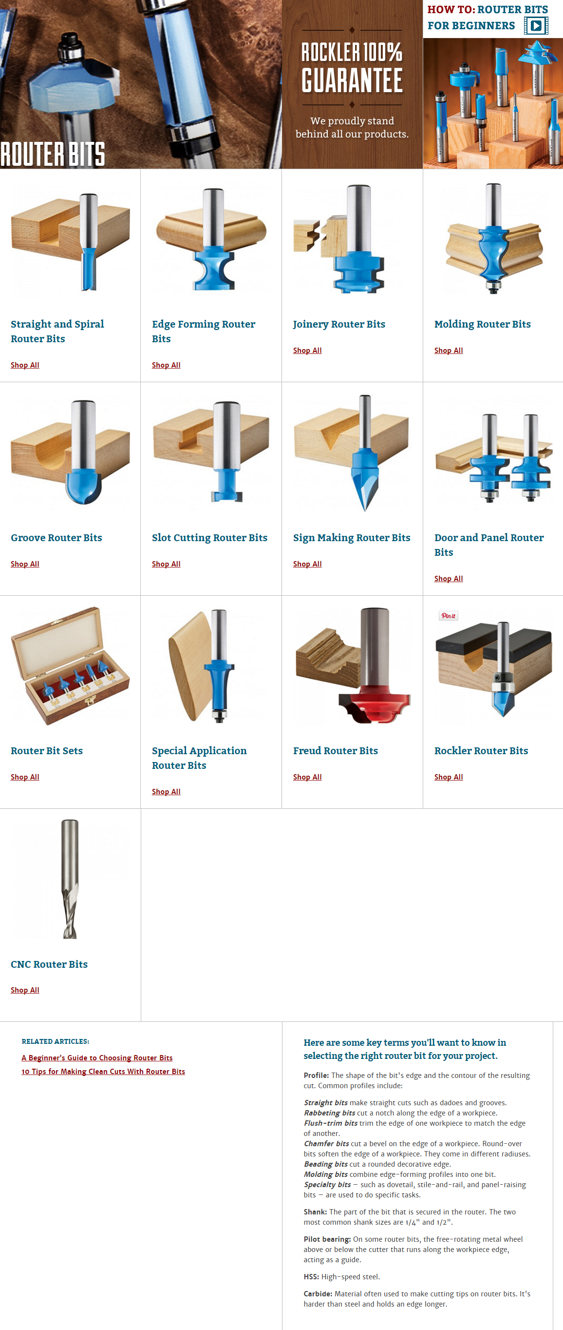 Photo of Router Bits at Rockler: Beading Bits, Dovetail Bits & Cabinet Bits
