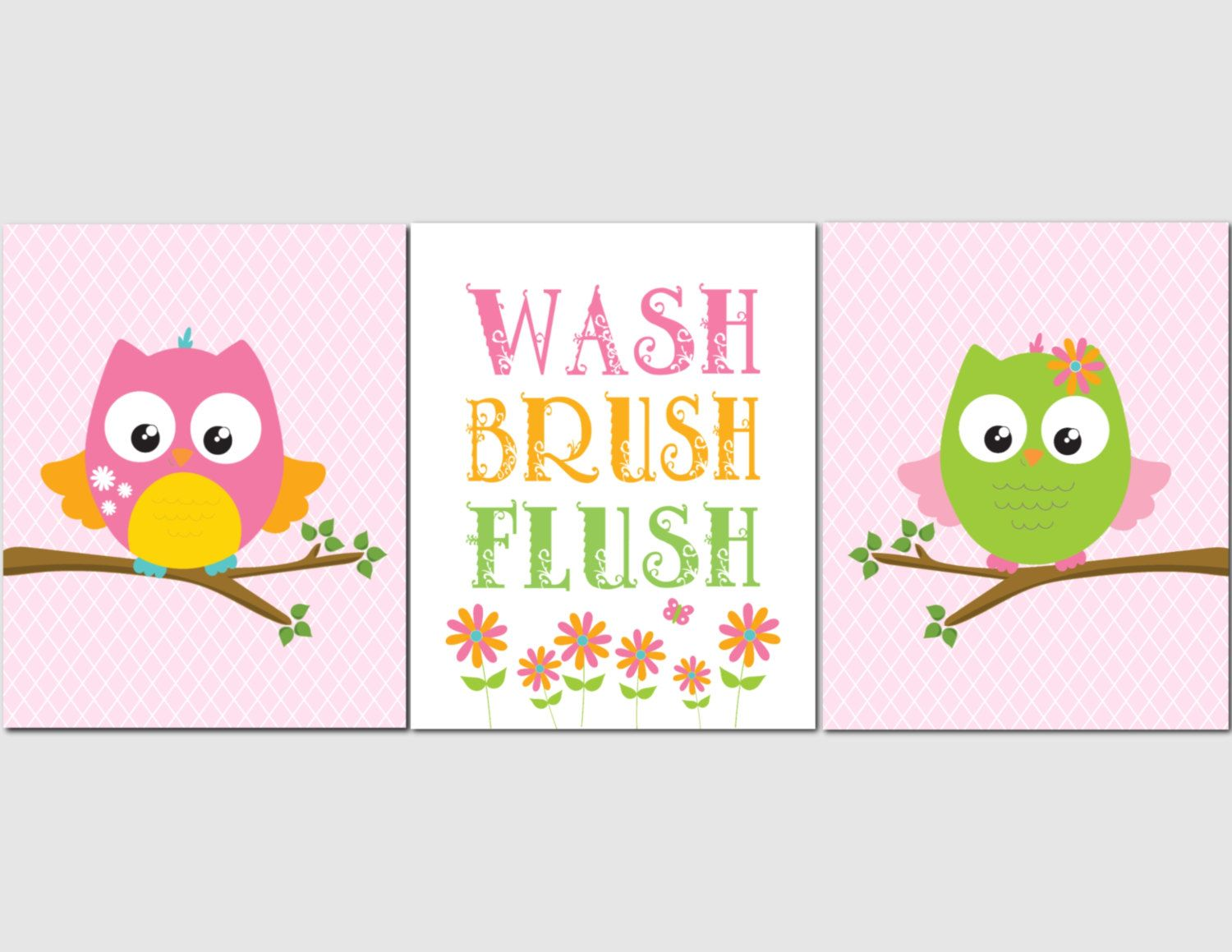 Elegant Bathroom Wall Art, Owl Bathroom, Girl Bathroom. Kids Bathroom Art, Owls,