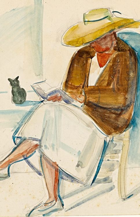 "huariqueje: "" Reading with Cat - Anita Ree German1885-1933 Watercolour , 29 x 23 cm. """