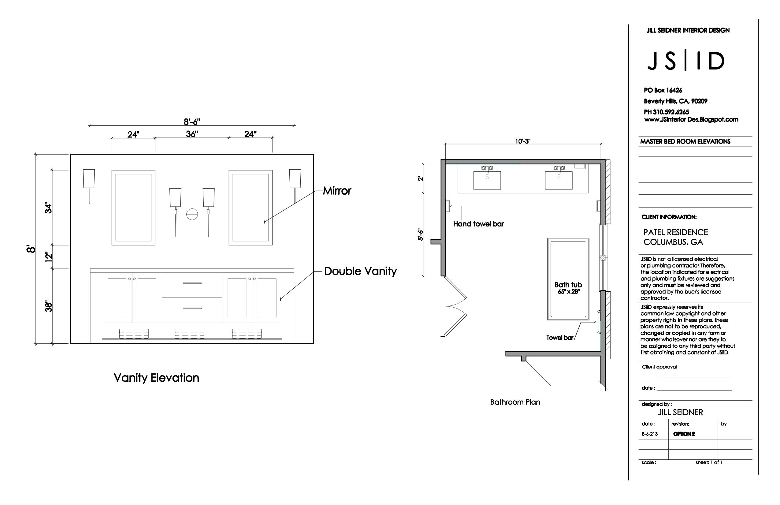 Columbus GA Master Bathroom Elevation Drawing Bathtub Detail JSInteriorDesBlogspot