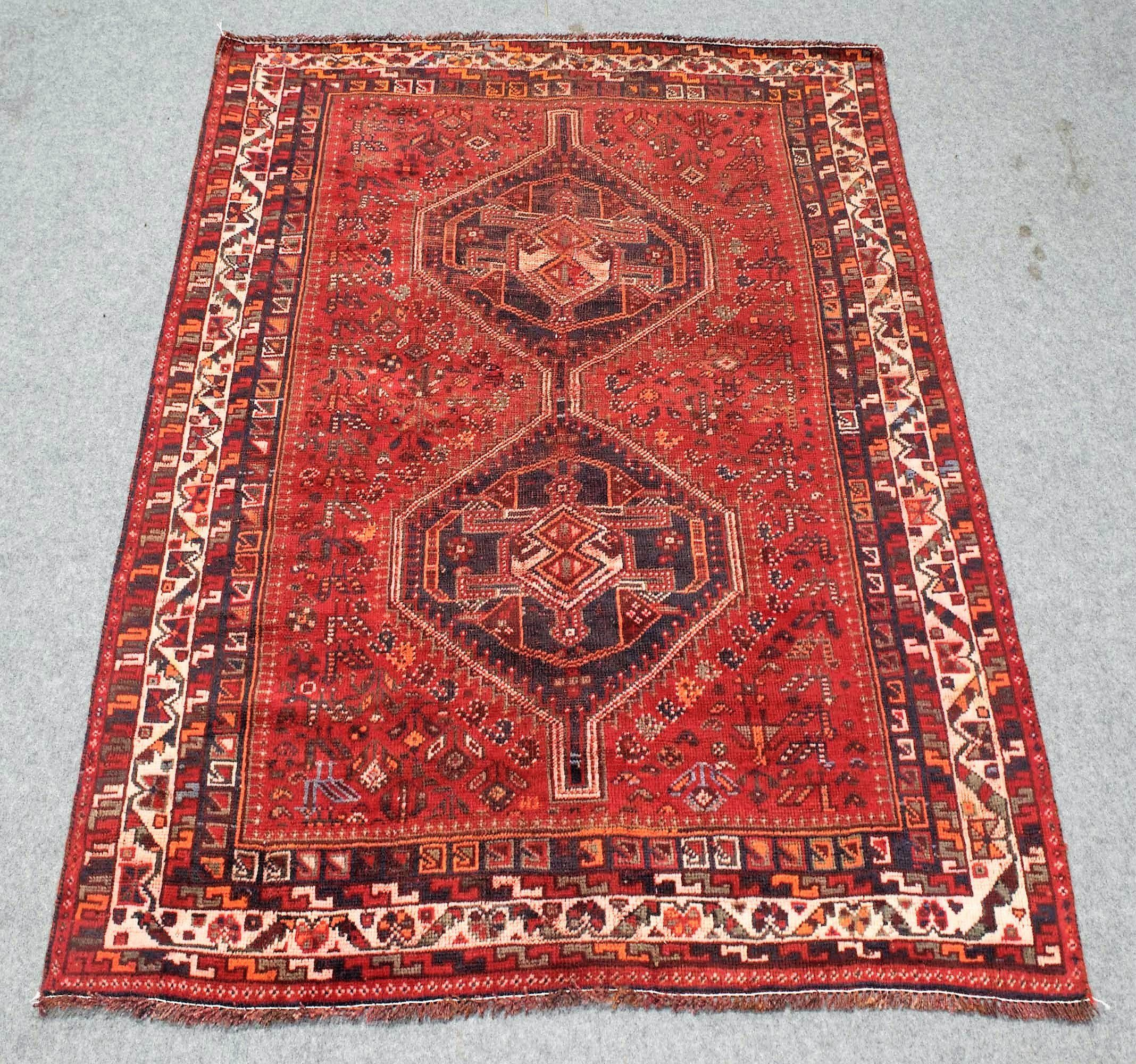 5x6 Elegant Vintage Turkish Shiraz Hand Knotted Wool Area Rug Worn Antique With Images Wool Area Rugs Rugs Area Rugs