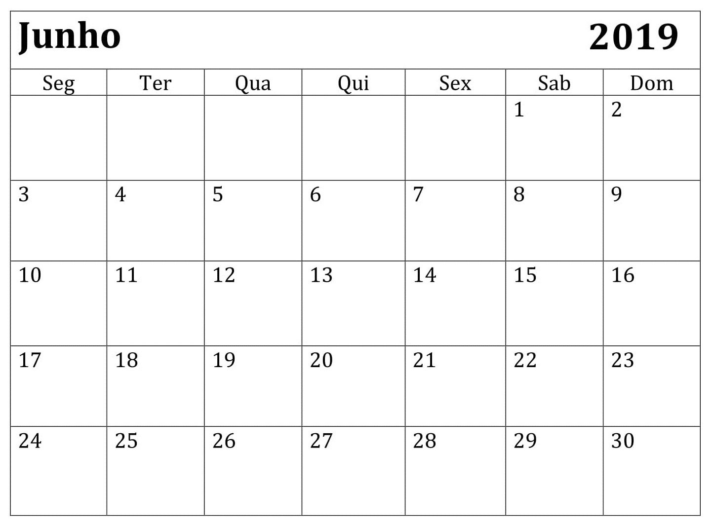 Junho Calendario Imprimir