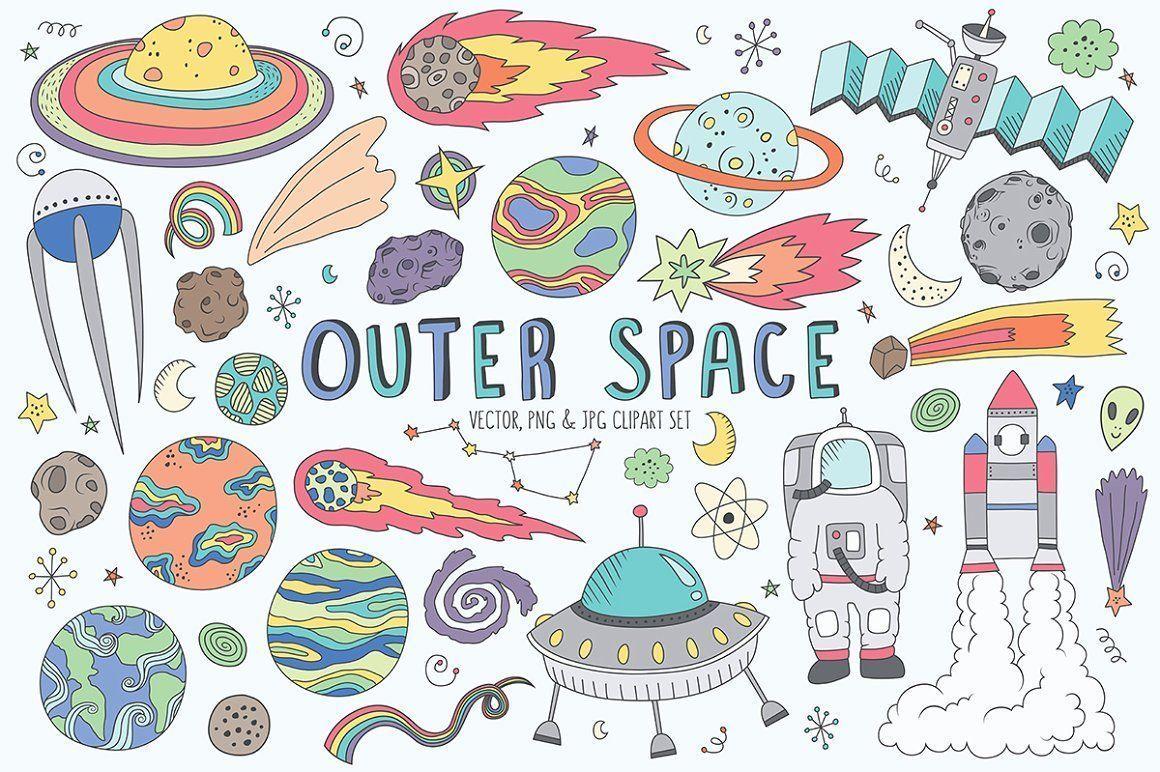 Space Doodles Cute Clip Art Set Space Cartoon Background