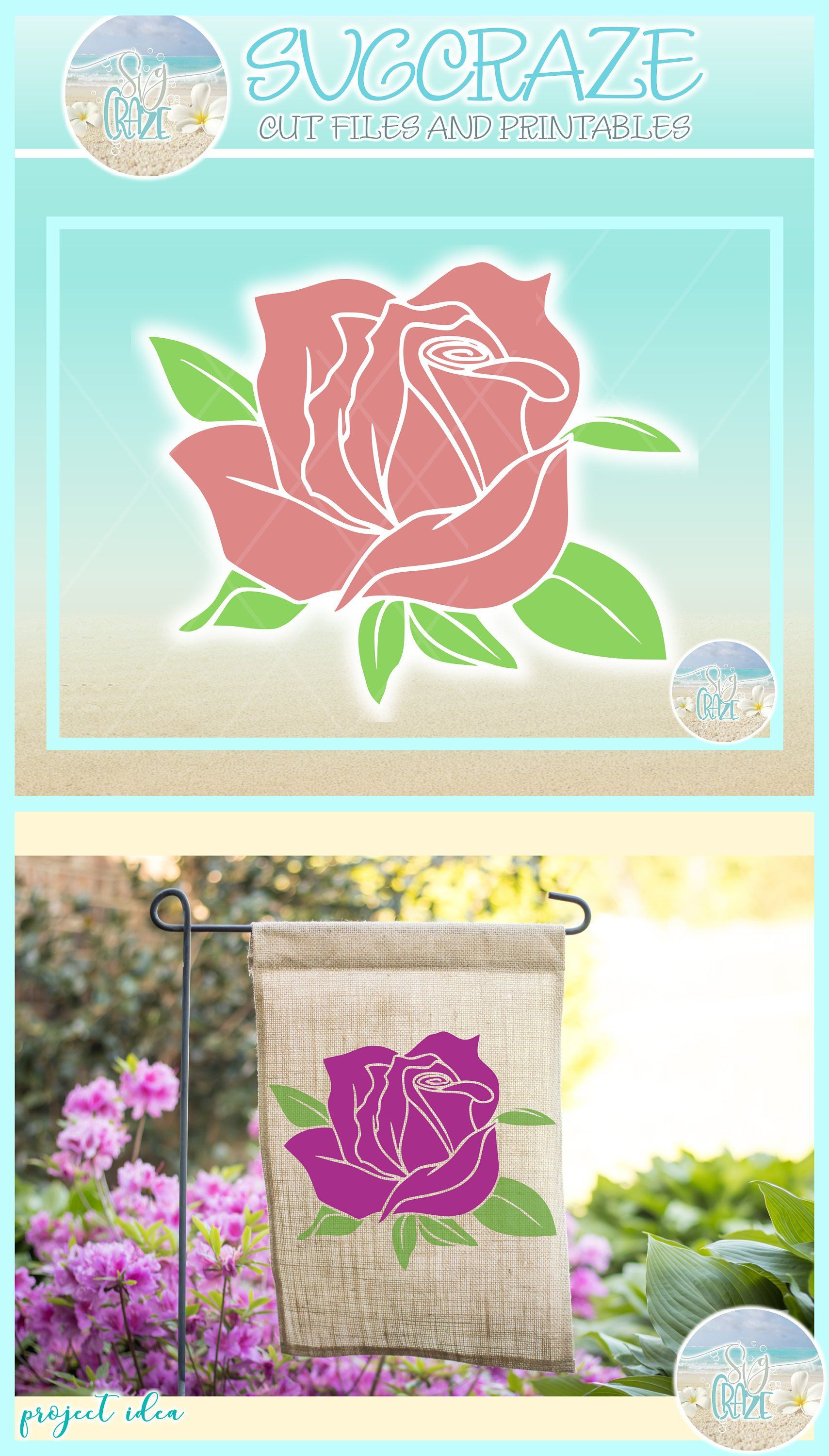 Rose Flower And Leaves Nature Gardening Plant SVG Files