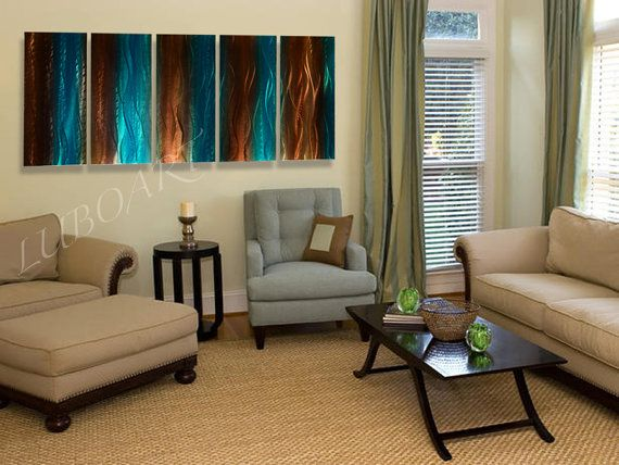 National Motif brown METAL art turquoise painting by luboart, $290.00