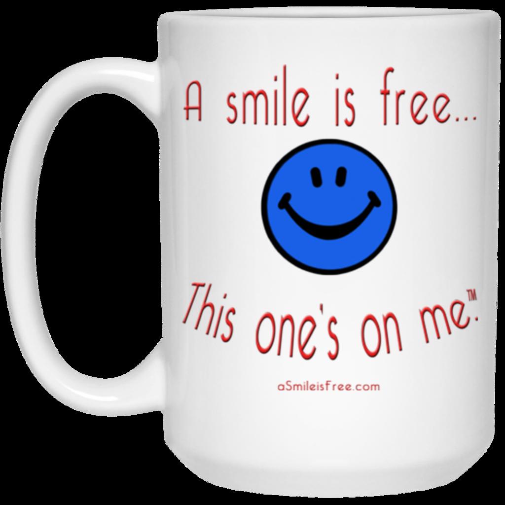 21504 15 oz. White Mug Smile America BRW Mugs, Smile, Blue