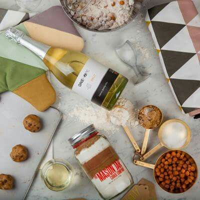 A Sweet Gift for Your Sweet Tooth  The Baker Gift Crate includes a bottle of our Sparkling Brut, cookie mixes by the Mason Jar Cookie Co., wine glass shaped cookie cutter, a baker's kit, paper tags, and measuring spoons. www.viaonehope.com/eula-sullivan