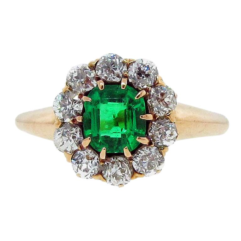 Antique Bailey Banks Biddle Emerald And Diamond Ring From A Unique Collection Of Vintage Cluster Rings At Http Vintage Cluster Ring Emerald Jewelry Jewelry