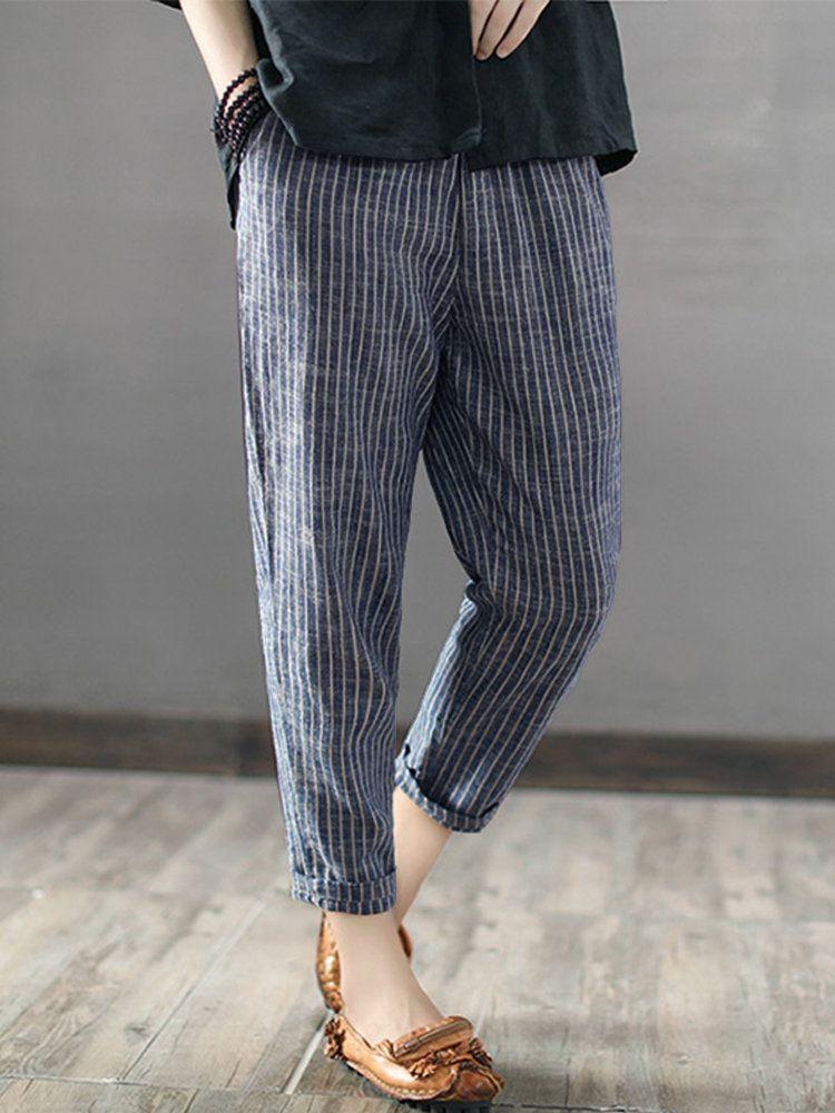 24087faff6 Gorgeous ZANZEA Vintage Striped Pockets Cotton Harem Pants - NewChic ...