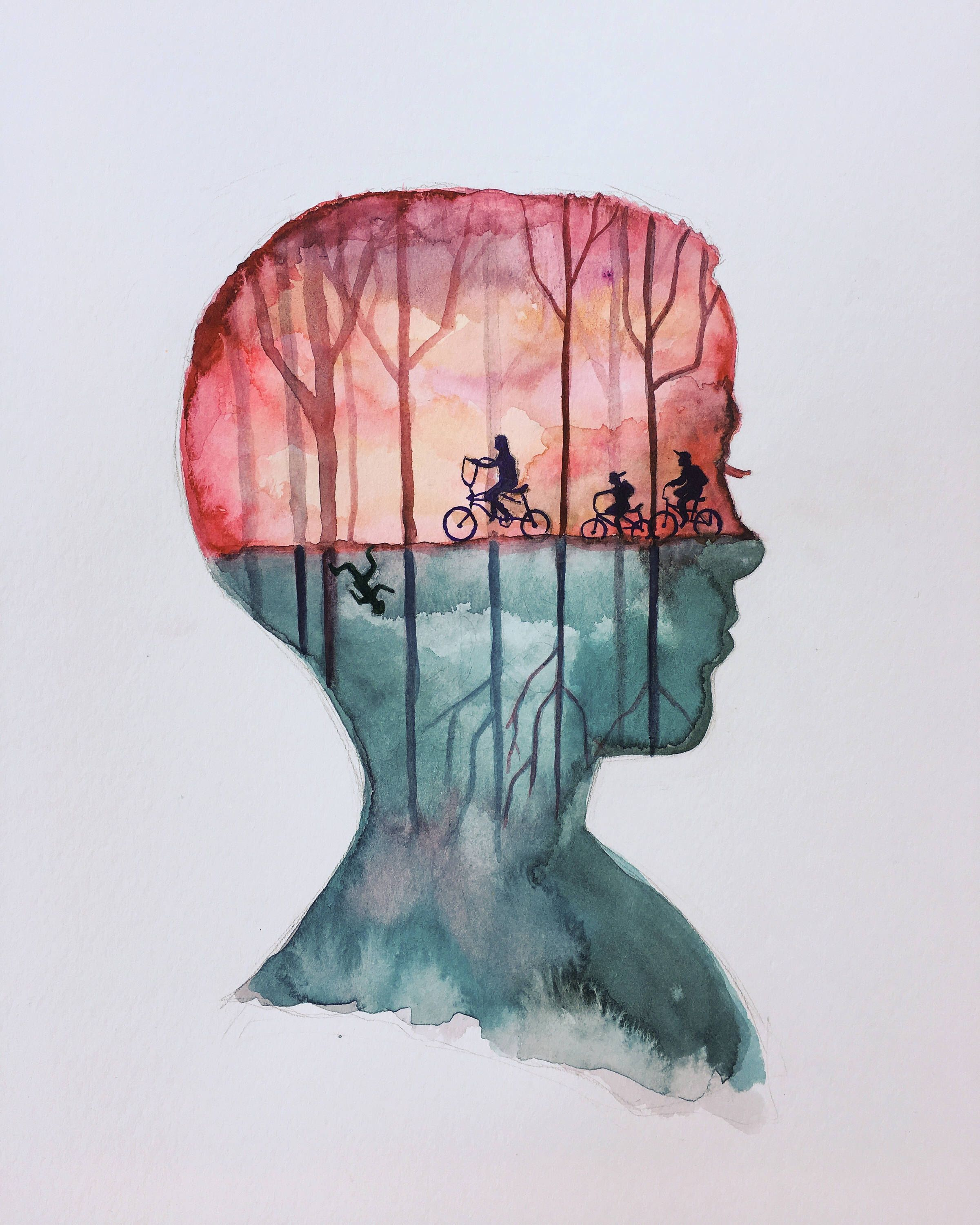 Original Eleven Stranger Things Watercolor Painting Stranger