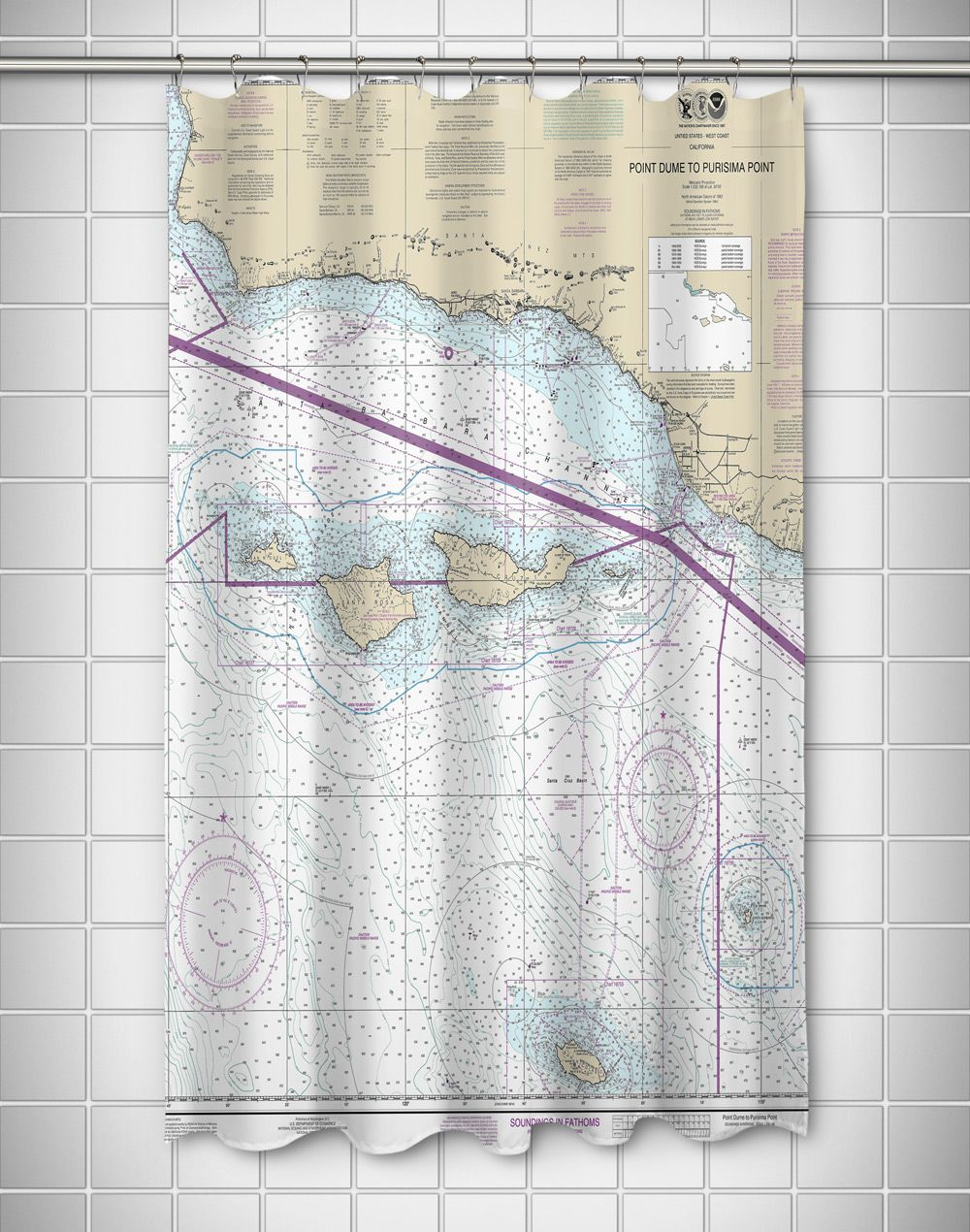 Ca Point Dume To Purisima Point Ca Nautical Chart Shower Curtain