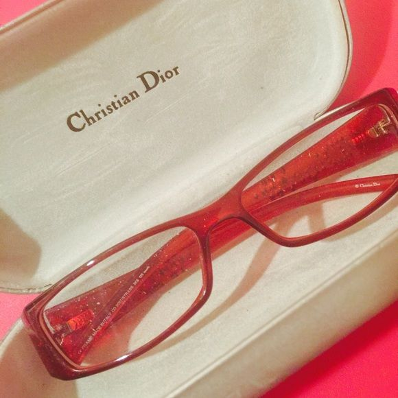 AUTHENTIC Christian Dior RED Frames & Case Beautiful Frames. Ready for your prescription lenses. BRAND NEW! Never got glasses completed in this frame. I chose another one. Black RHINESTONED Dior on sides. Christian Dior Accessories Glasses