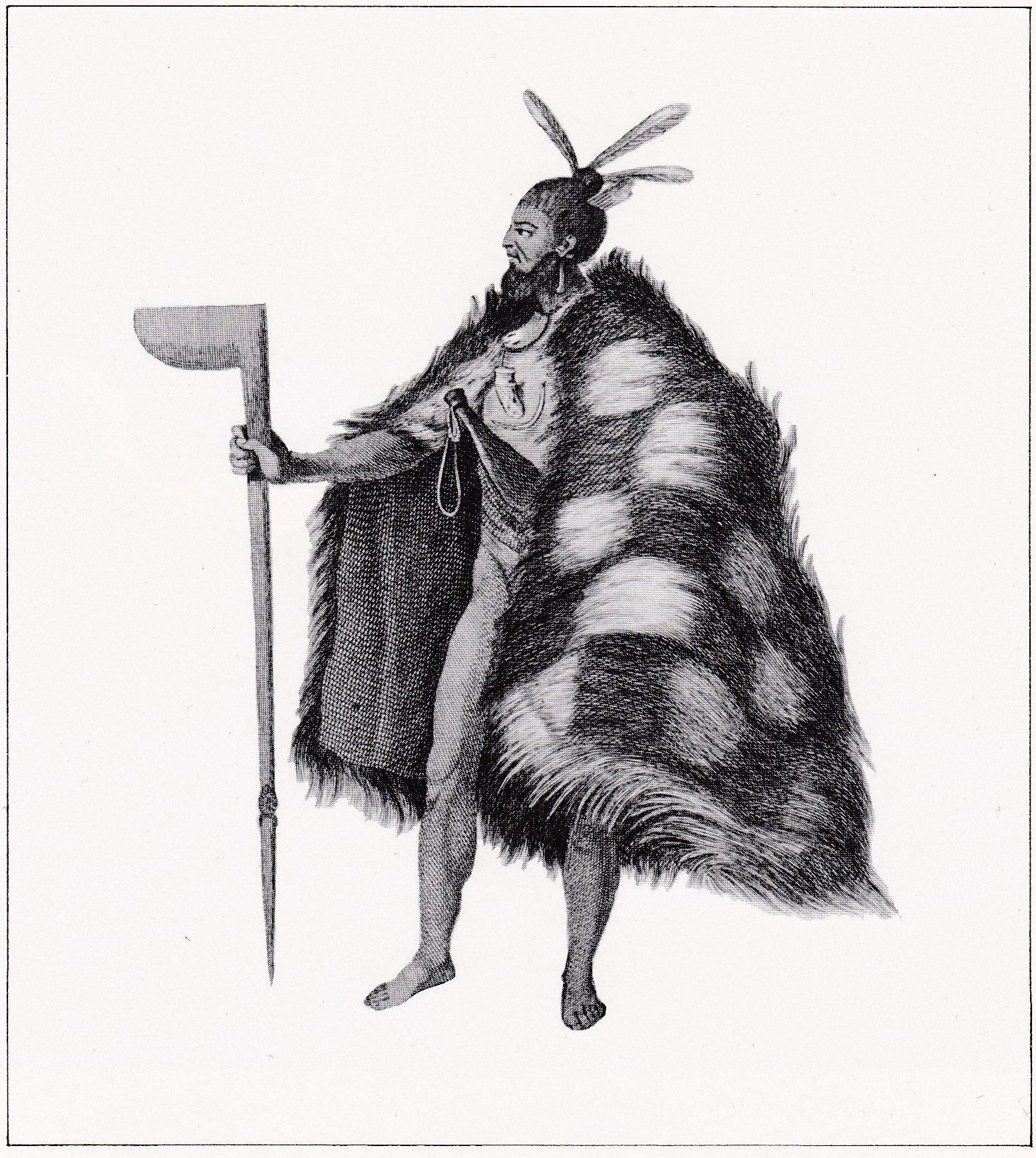 An eighteenth century warrior robed in a fine dogskin