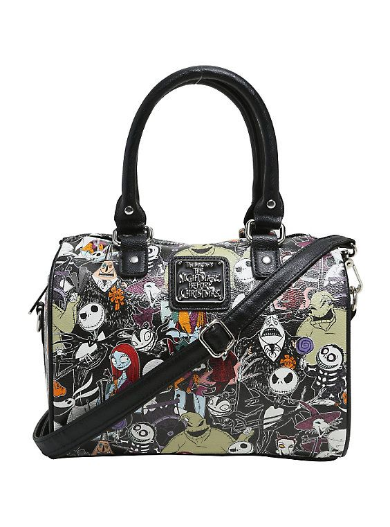 Loungefly The Nightmare Before Christmas Character Print Faux Leather Barrel Bag