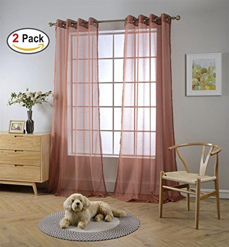Miuco 2 Panels Grommet Textured Solid Sheer Curtains 95 Inches Long For Window Treatment X