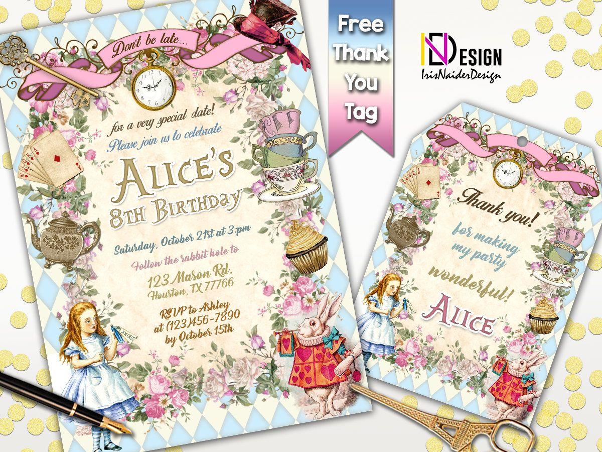 Alice in Wonderland Birthday Invitation, Alice in wonderland ...
