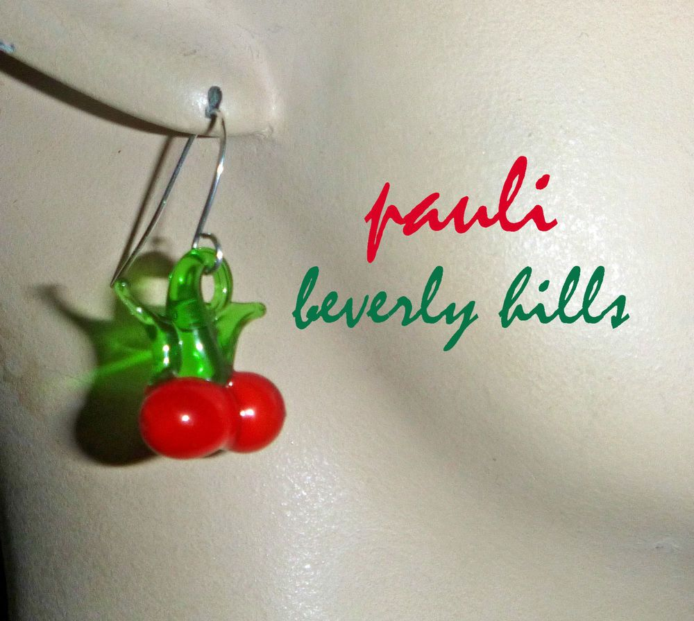 Petite Retro  RED GREEN Cherries Handmade Glass Lampwork Silver French Wires EARRINGS by pauli beverly hills at ebay