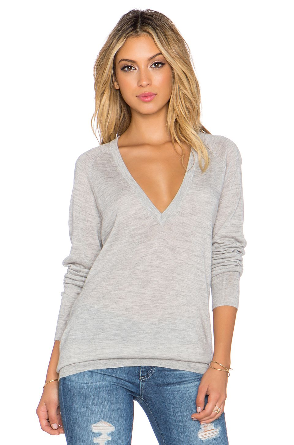 Equipment Kelsey V Neck Cashmere Sweater in Light Heather Grey ...