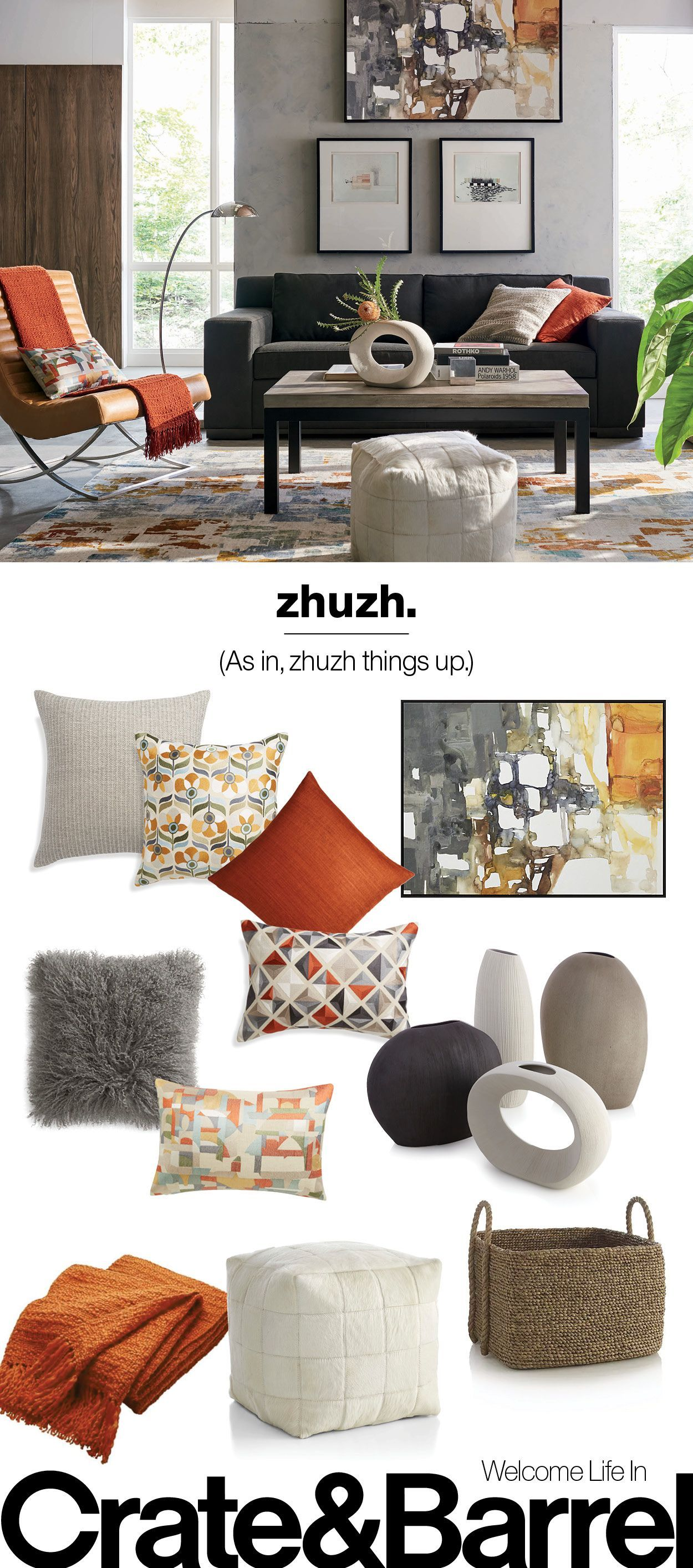 Our pillows baskets wall art and ceramics add a little something