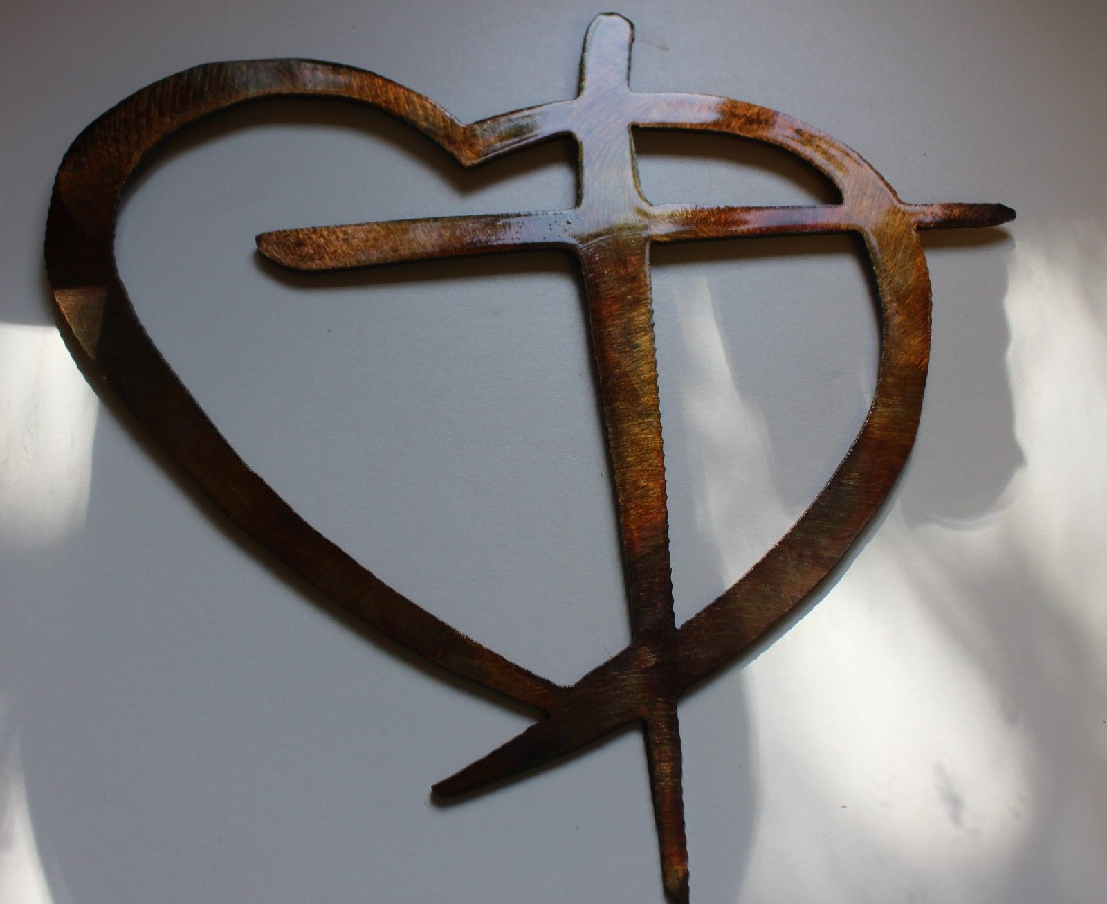 Heart U0026 Cross Copper/Bronze HANGING METAL WALL ART DECOR