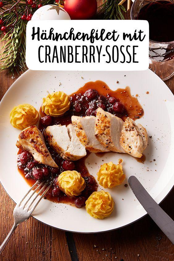 Hähnchenfilet mit Cranberrysoße & Herzogin-Kartoffeln