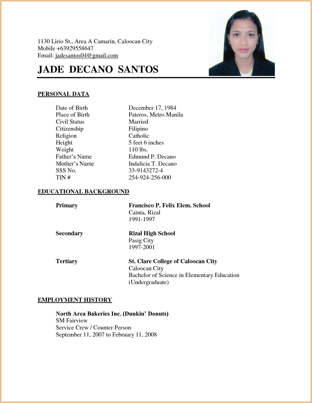 Resume Examples Philippines Resume Ixiplay Free Resume In 2020 Basic Resume Examples Simple Resume Format Sample Resume Format