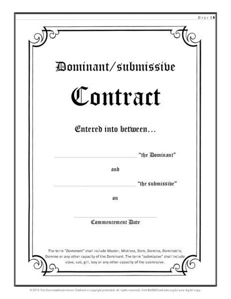 Bdsm dominant-submissive contracts