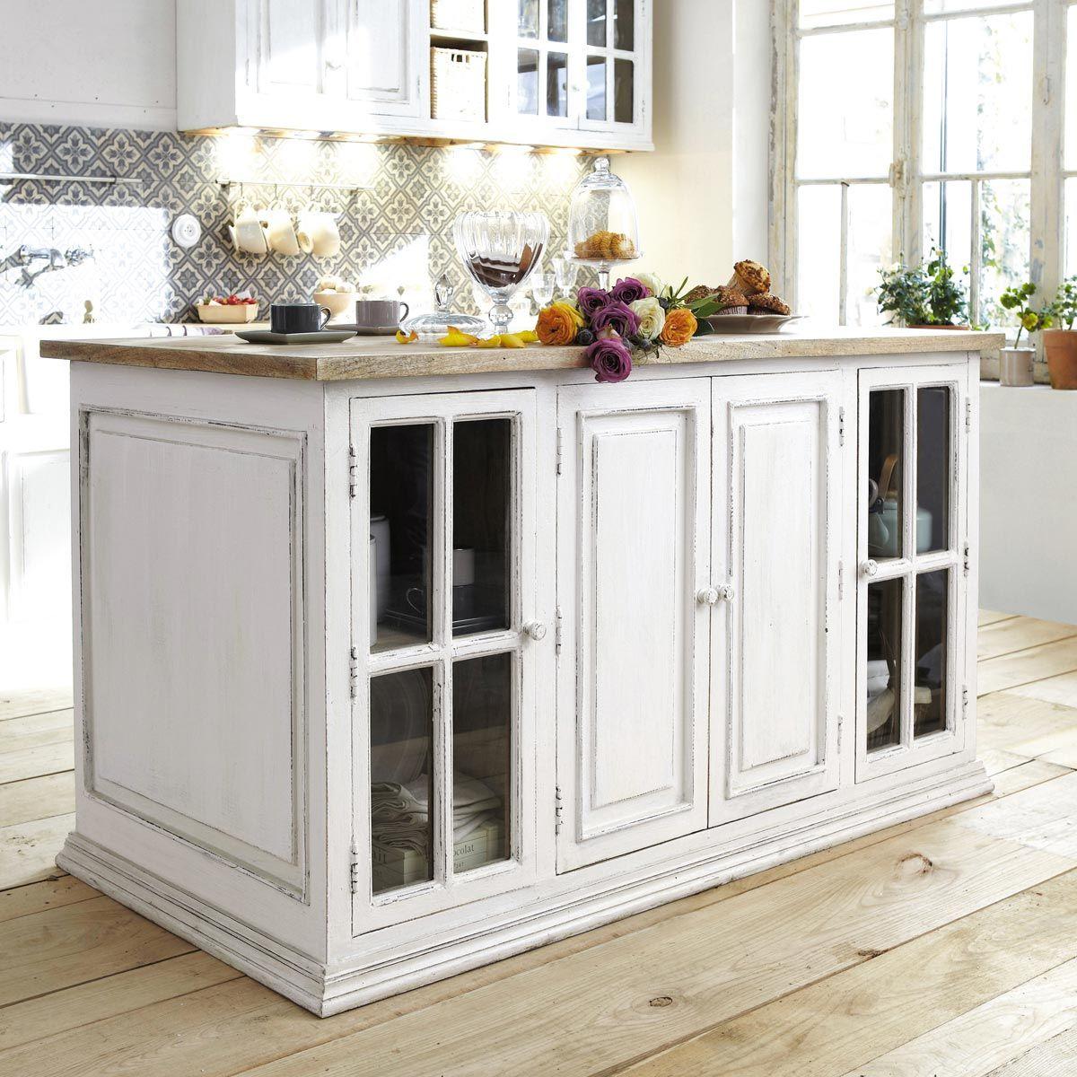 ilot central 160 cm eleonore ilot cuisine maisons du monde