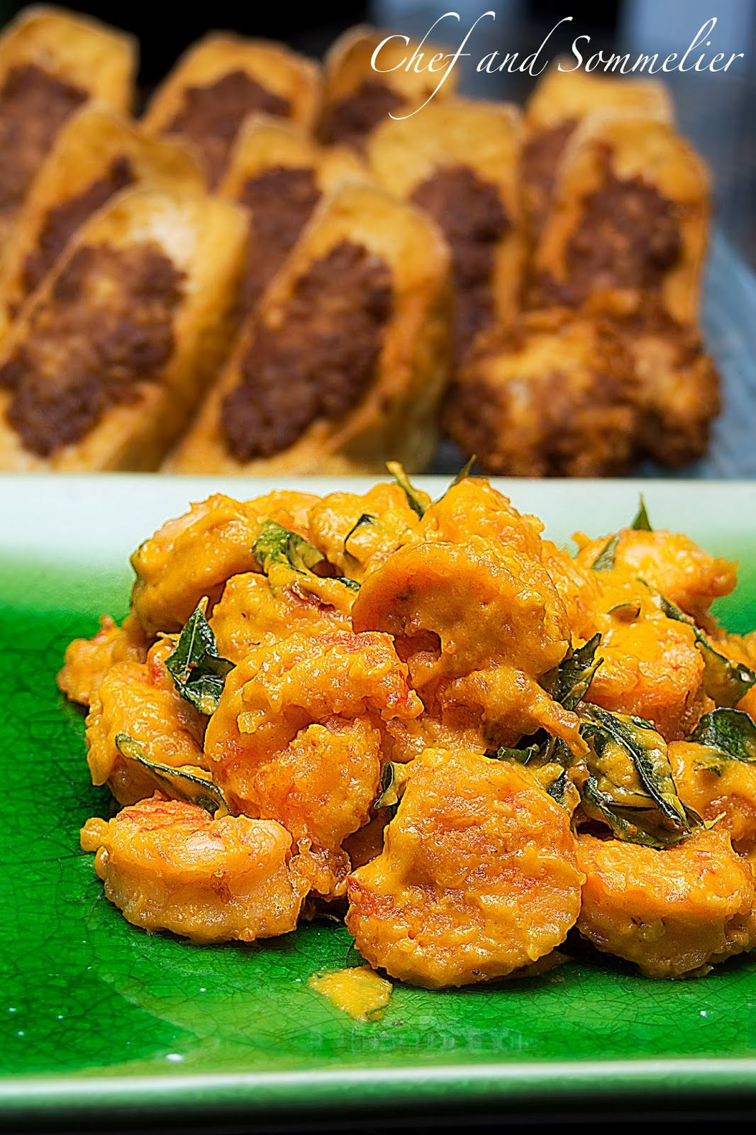 Chef And Sommelier Golden Salted Egg Pumpkin Prawns Seafood Recipes Salted Egg Cooking Recipes