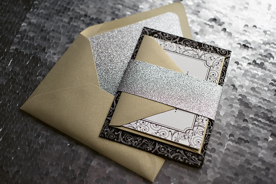 Black And Silver Gold Glitter Wedding Invitations Letterpress