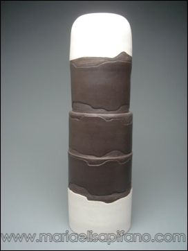 "Maria Elisa Pifano - ceramic sculpture ""Black and white totem"" unglazed stoneware with carvings and engobes"
