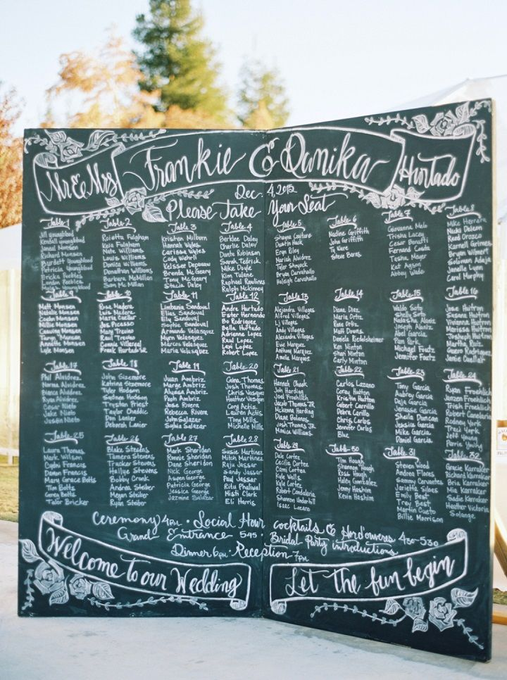 Chalk board wedding seating chart | fall wedding | fabmood.com #seatingchart