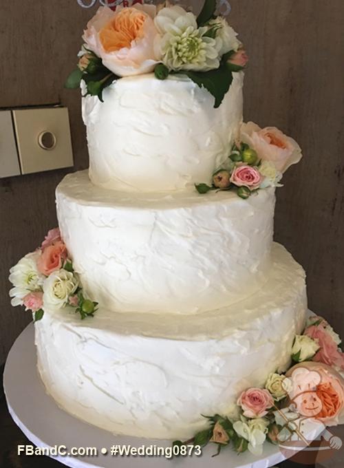Design W 0873 Butter Cream Wedding Cake 12 9 6 Serves 100 Buttercream Texture All Over Texture Fresh Flower Cake Cream Wedding Cakes Dessert Favor