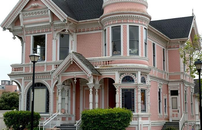 Pink Victorian House Houses Were Often A Spectacular Display Of Porches Overhangs Bay Windows Balconies Turrets Stained Gl And Picturesque