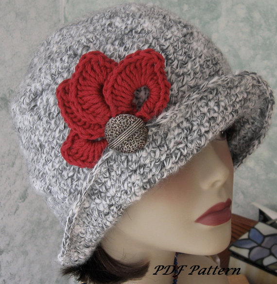 Crochet Hat Pattern Flapper Style With Brim Petal Trim And Back ...