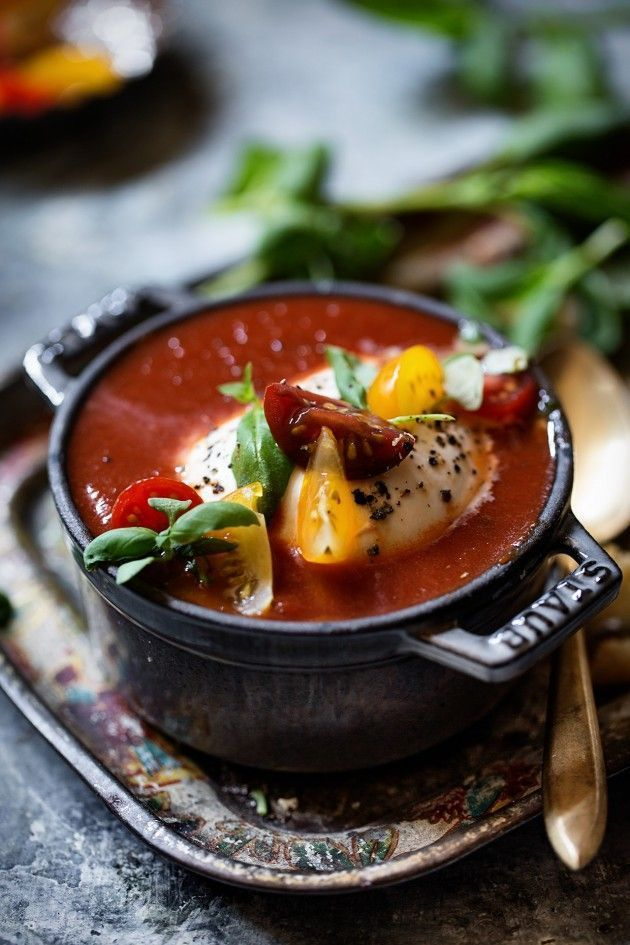 tomato soup with black truffle burrata