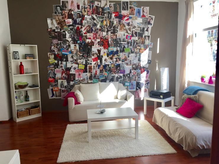 wg zimmer idee gro e fotowand mit erinnerungen an sch ne momente und spannende reisen. Black Bedroom Furniture Sets. Home Design Ideas