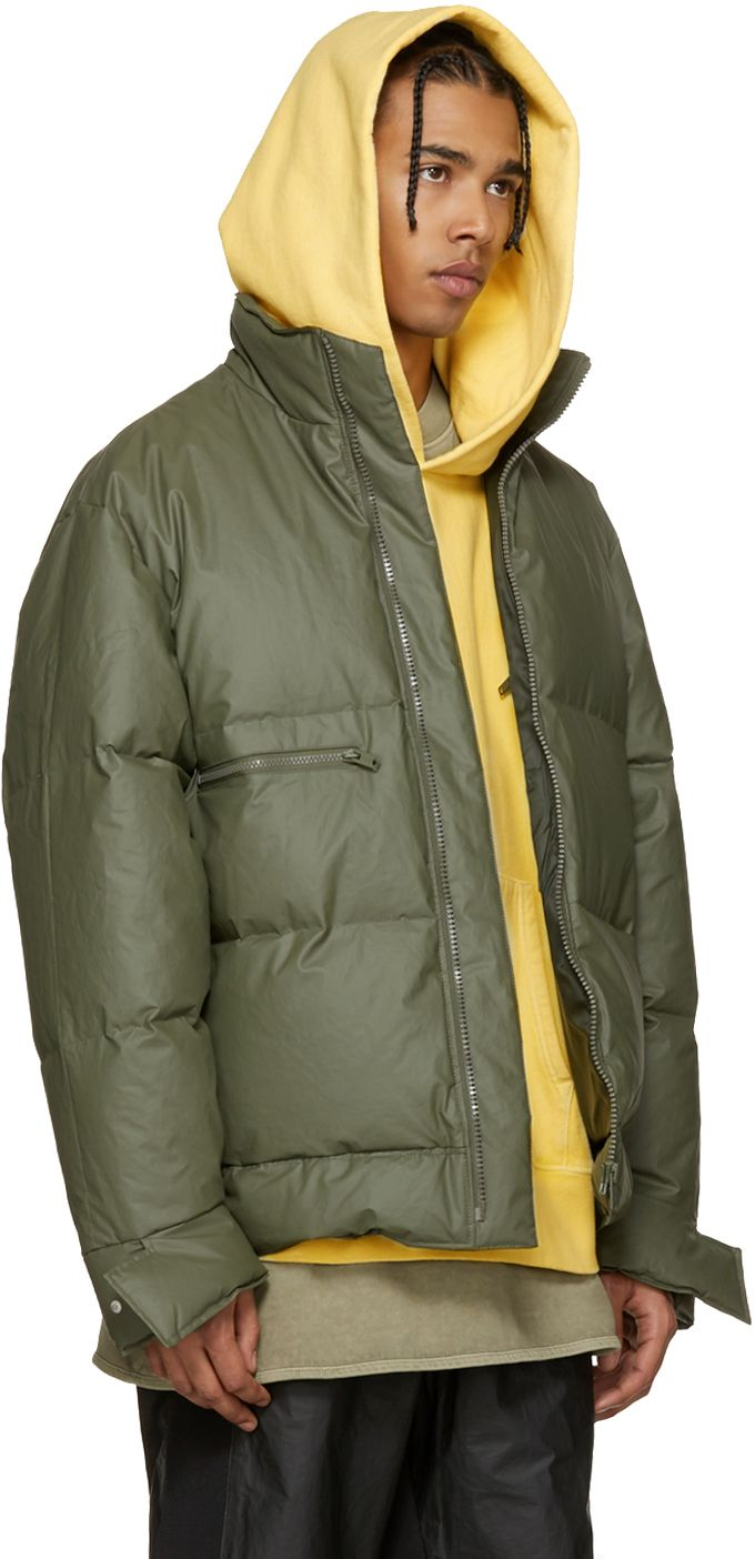 Yeezy Season 1 Green Waxed Cotton Down Puffer Ssense Yeezy Yeezy Outfit Luxury Streetwear [ 1404 x 680 Pixel ]