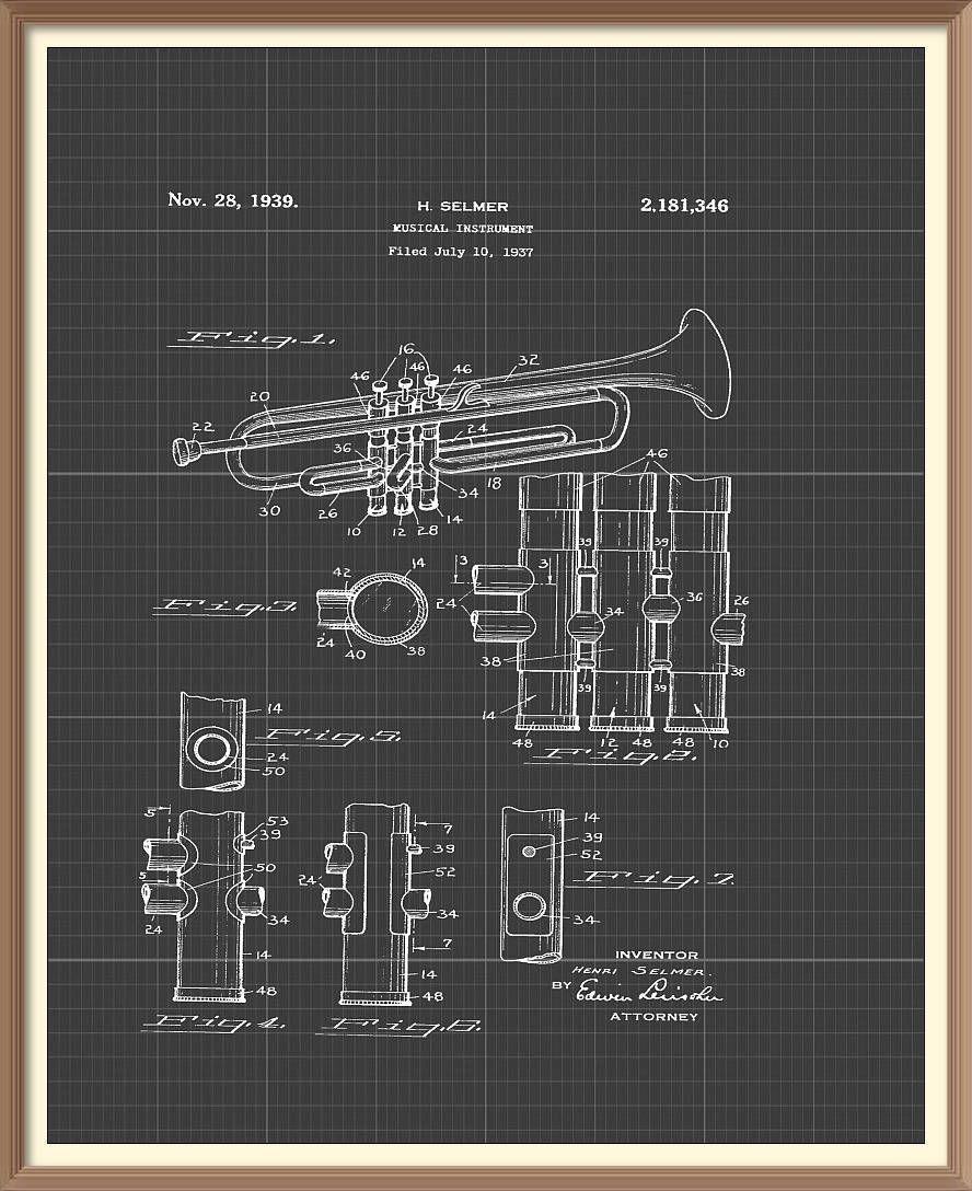 Vintage trumpet patent print 1939 set on a vintage grey blueprint vintage trumpet patent print 1939 set on a vintage grey blueprint background instant download vintage malvernweather Image collections