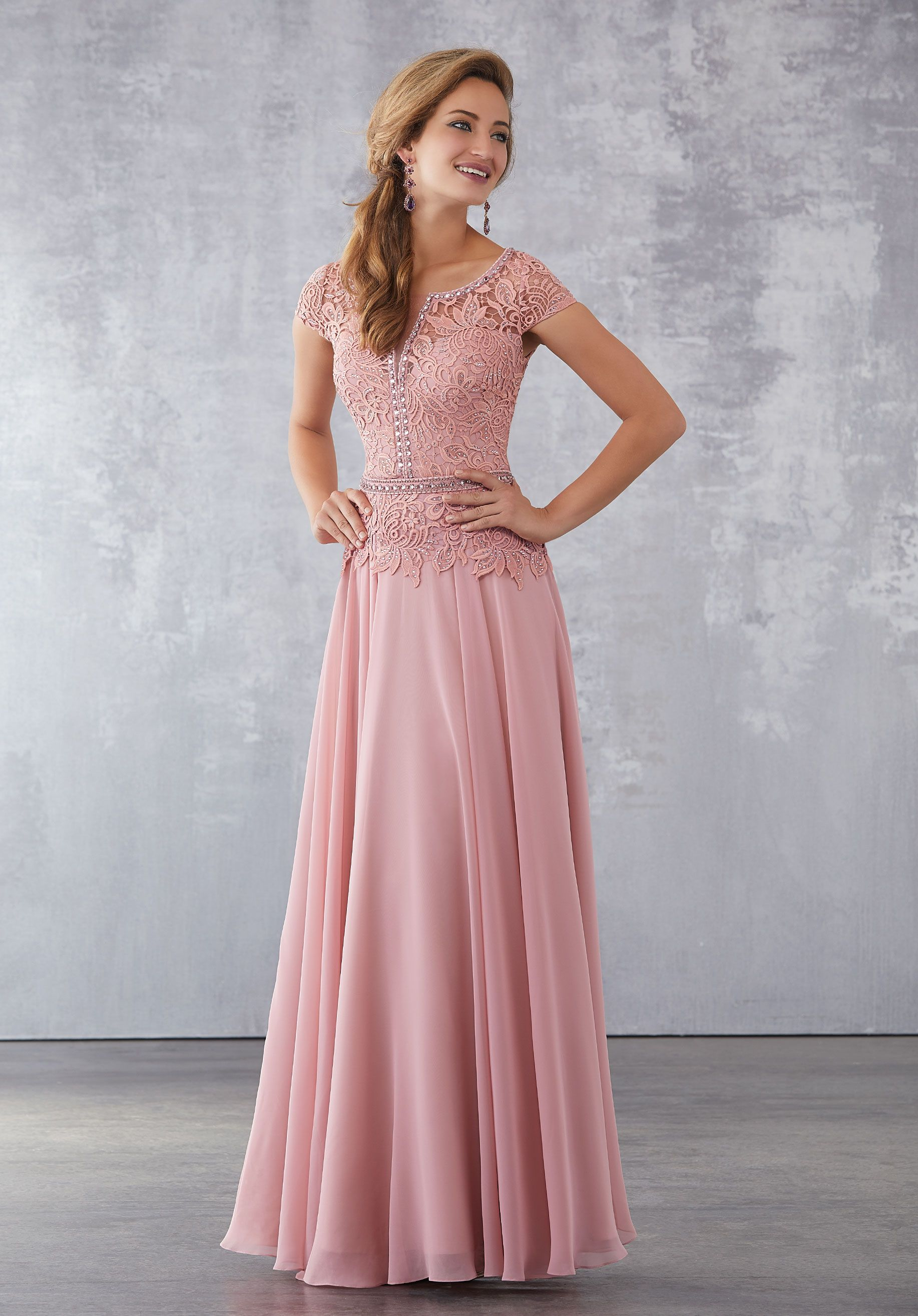 Beaded Venice Lace on Chiffon. Removable Beaded Belt. Matching Stole ...