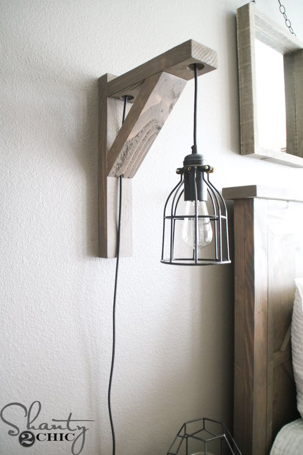 Build This Diy Rustic Corbel Light Sconce For 25 Creative Bedroom Lamp But Perfect So Many Spots In Your Home Free Plans At Www Shanty 2 Chic