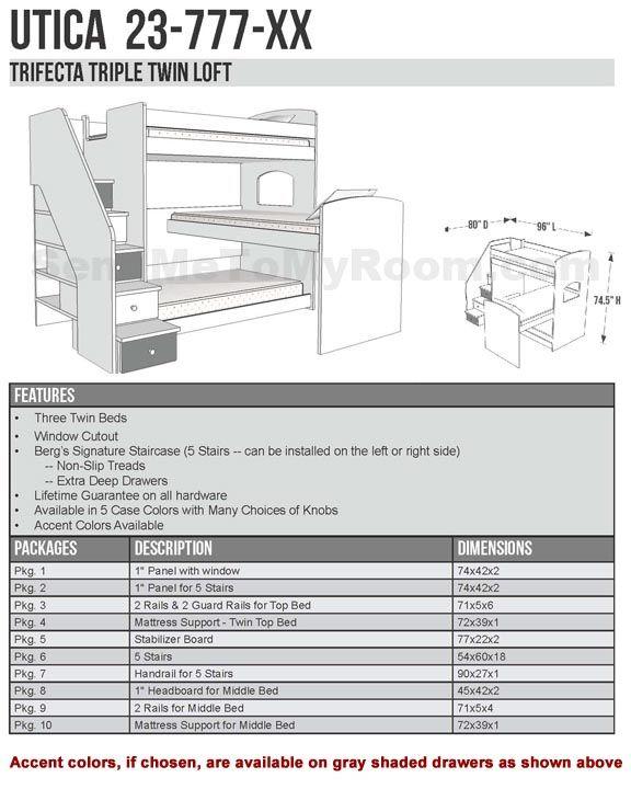 Berg Furniture Utica Trifecta Triple Bunk Bed With Connecticut